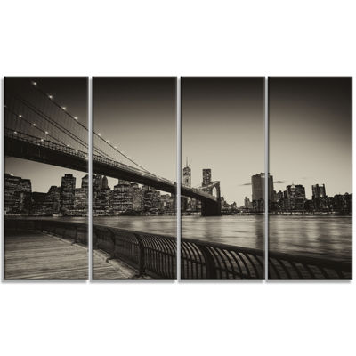 Designart Famous Landmark Of Brooklyn Bridge Cityscape Canvas Print - 4 Panels