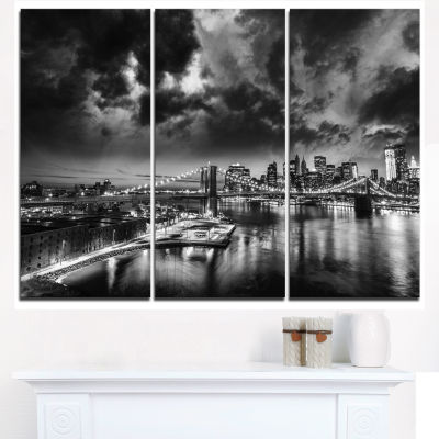 Designart Amazing Night In New York City CityscapeCanvas Print - 3 Panels