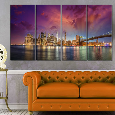 Designart New York Manhattan Skyline With Clouds Cityscape Canvas Print - 4 Panels