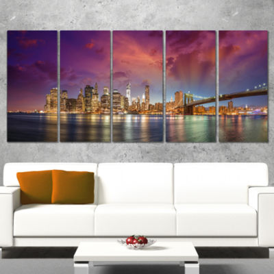 Design Art New York Manhattan Skyline With Clouds Cityscape Canvas Print - 5 Panels