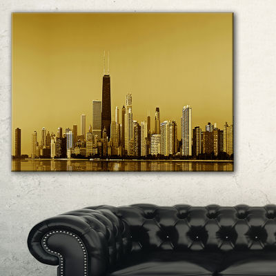 Design Art Chicago Gold Coast With Skyscrapers Cityscape Canvas Print