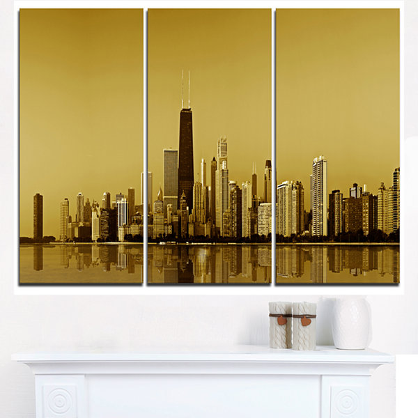 Design Art Chicago Gold Coast With Skyscrapers Cityscape Canvas Print - 3 Panels