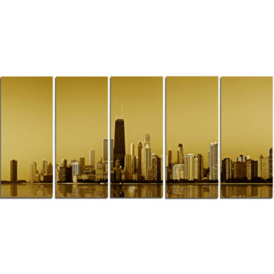 Design Art Chicago Gold Coast With Skyscrapers Cityscape Canvas Print - 5 Panels