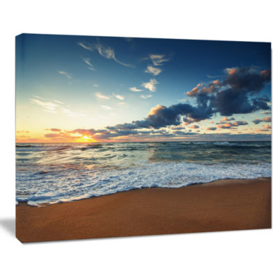 Design Art Sunrise And Glowing Waves In Ocean Seascape Canvas Art Print