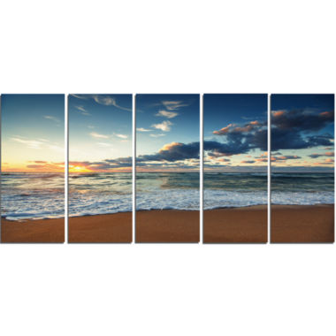 Designart Sunrise And Glowing Waves In Ocean Seascape Canvas Art Print - 5 Panels