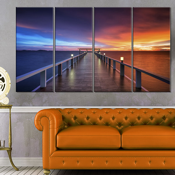 Designart Picturesque Seashore With Long Pier Canvas Art Print - 4 Panels
