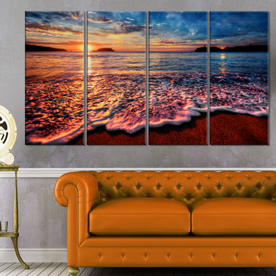 Designart Peaceful Evening Beach View Seascape Canvas Art Print - 4 Panels