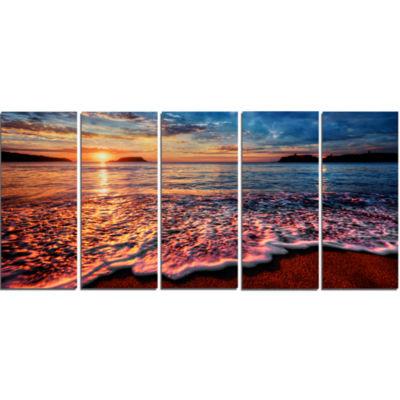 Designart Peaceful Evening Beach View Seascape Canvas Art Print - 5 Panels