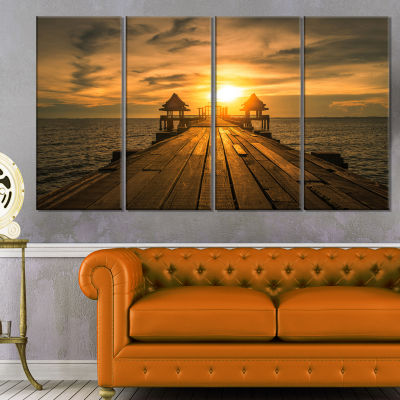 Design Art Huge Wooden Bridge To Illuminated Sky Pier Seascape Canvas Art Print - 4 Panels