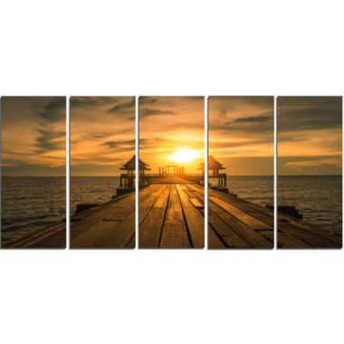 Design Art Huge Wooden Bridge To Illuminated Sky Pier Seascape Canvas Art Print - 5 Panels