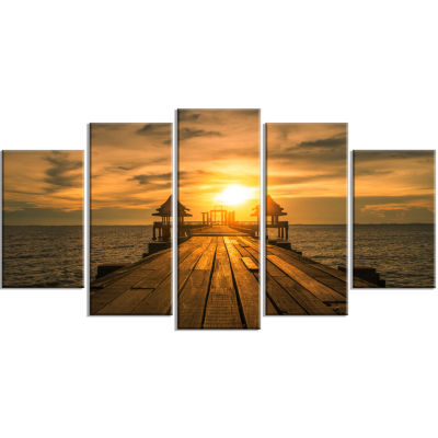 Designart Huge Wooden Bridge To Illuminated Sky Pier Seascape Canvas Art Print - 5 Panels