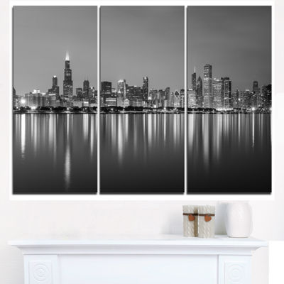 Design Art Chicago Skyline At Night Black And White Cityscape Canvas Print - 3 Panels