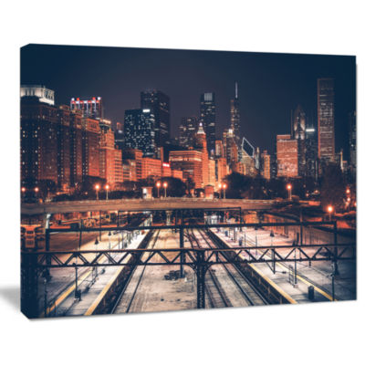 Designart Dark Chicago Skyline And Railroad Cityscape Canvas Print
