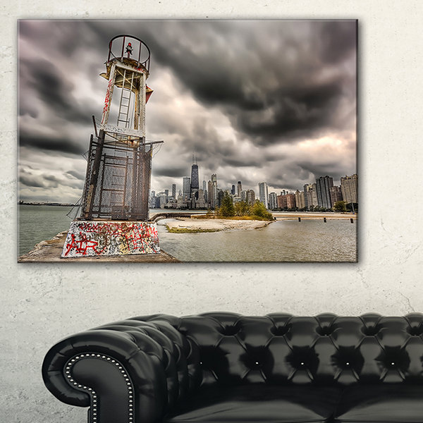 Design Art Lake Michigan Navigation Light Cityscape Canvas Print