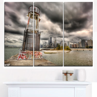 Designart Lake Michigan Navigation Light CityscapeCanvas Print - 3 Panels