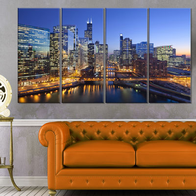Designart Chicago River With Bridges At Sunset Cityscape Canvas Print - 4 Panels