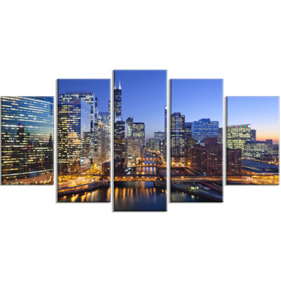 Designart Chicago River With Bridges At Sunset Cityscape Canvas Print - 5 Panels