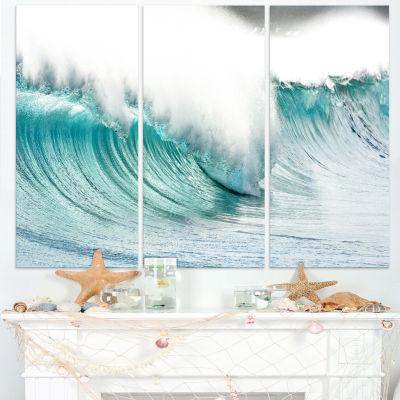 Designart Massive Blue Waves Breaking Beach Seashore Canvas Art Print - 3 Panels