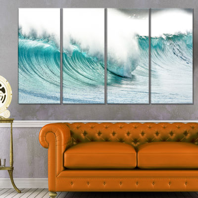 Designart Massive Blue Waves Breaking Beach Seashore Canvas Art Print - 4 Panels