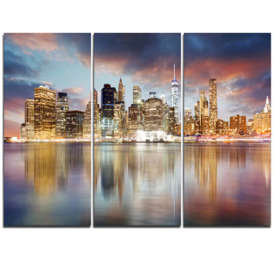 Design Art New York Skyline At Sunrise With Reflection. Cityscape Canvas Print - 3 Panels