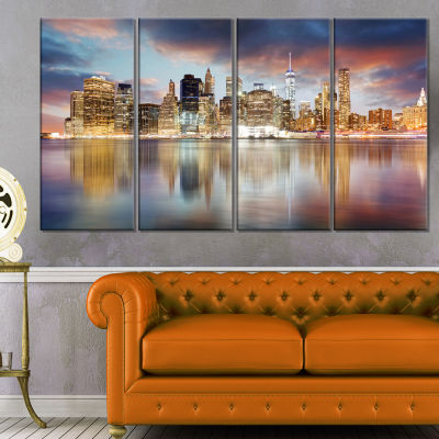 Designart New York Skyline At Sunrise With Reflection Cityscape Canvas Print - 4 Panels
