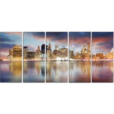 Designart New York Skyline At Sunrise With Reflection. Cityscape Canvas Print - 5 Panels