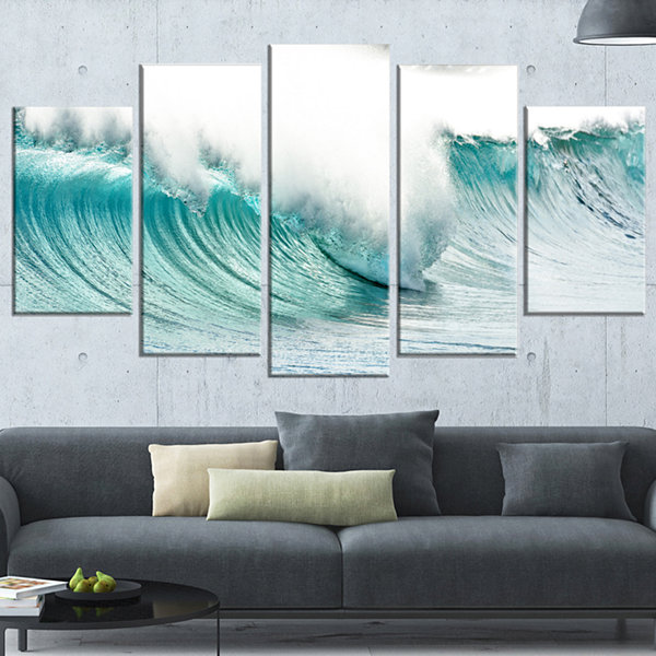 Design Art Massive Blue Waves Breaking Beach Seashore Canvas Art Print - 5 Panels