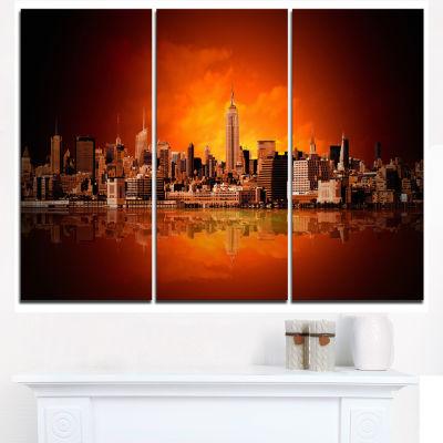 Designart New York City Panorama In Red Light Cityscape Canvas Print - 3 Panels