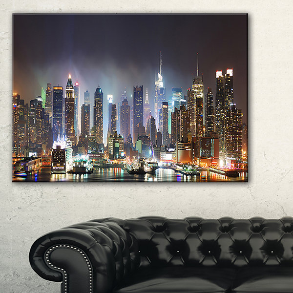Design Art New York Times Square In Blue Light Cityscape Canvas Print