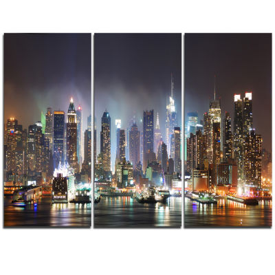 Design Art New York Times Square In Blue Light Cityscape Canvas Print - 3 Panels