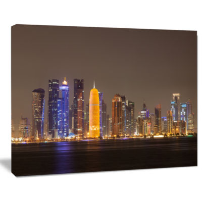 Designart Doha City Skyline At Night Qatar Cityscape Canvas Print