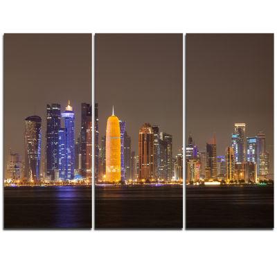 Designart Doha City Skyline At Night Qatar Cityscape Canvas Print - 3 Panels