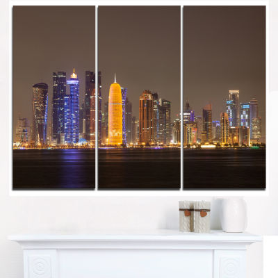 Design Art Doha City Skyline At Night Qatar Cityscape Canvas Print - 3 Panels