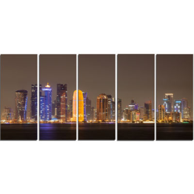 Design Art Doha City Skyline At Night Qatar Cityscape Canvas Print - 5 Panels