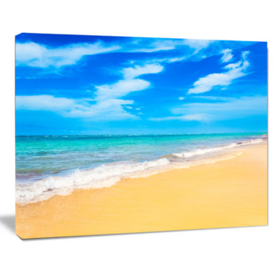 Designart Blue Sandy Tropical Sea Beach Art Canvas