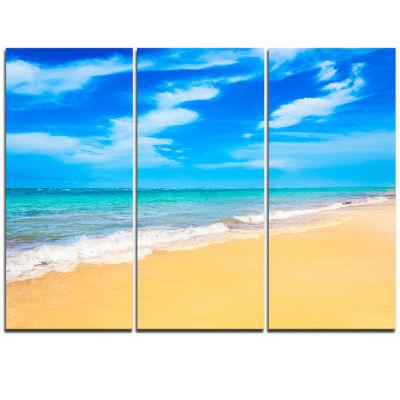 Designart Blue Sandy Tropical Sea Beach Art Canvas- 3 Panels
