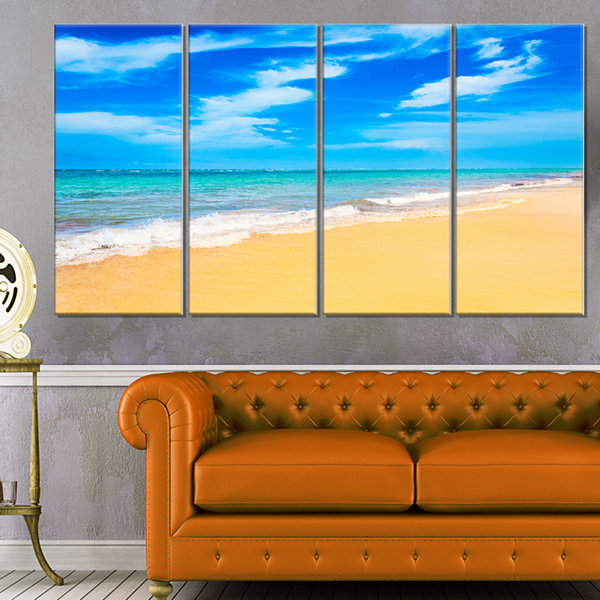 Designart Blue Sandy Tropical Sea Beach Art Canvas- 4 Panels