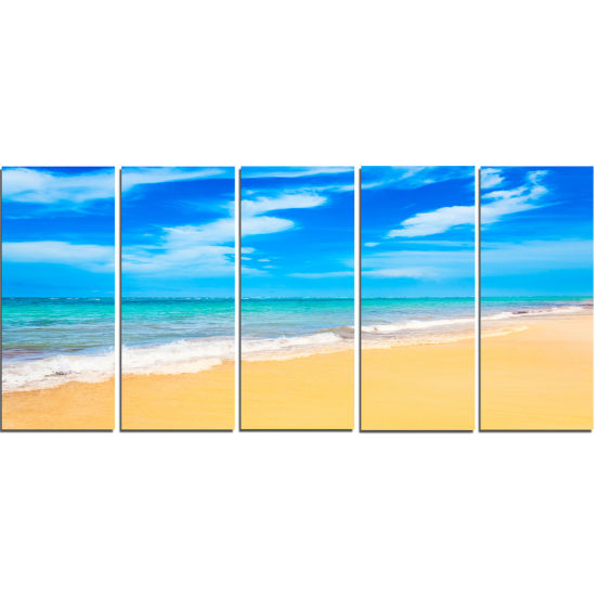 Designart Blue Sandy Tropical Sea Beach Art Canvas- 5 Panels
