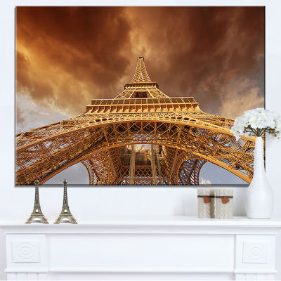 Design Art Beautiful View Of Paris Eiffel Tower Cityscape Canvas Print
