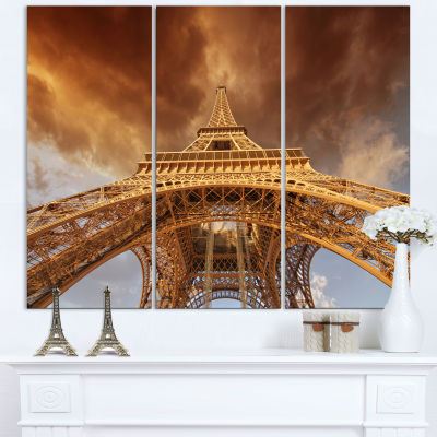 Designart Beautiful View Of Paris Eiffel Tower Cityscape Canvas Print - 3 Panels