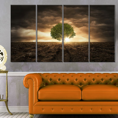 Designart Lonely Tree Under Dramatic Sky Wall ArtLandscape - 4 Panels