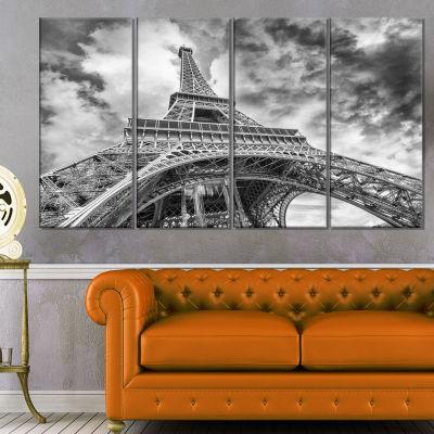 Designart Black And White View Of Paris Eiffel Tower Cityscape Canvas Print - 4 Panels