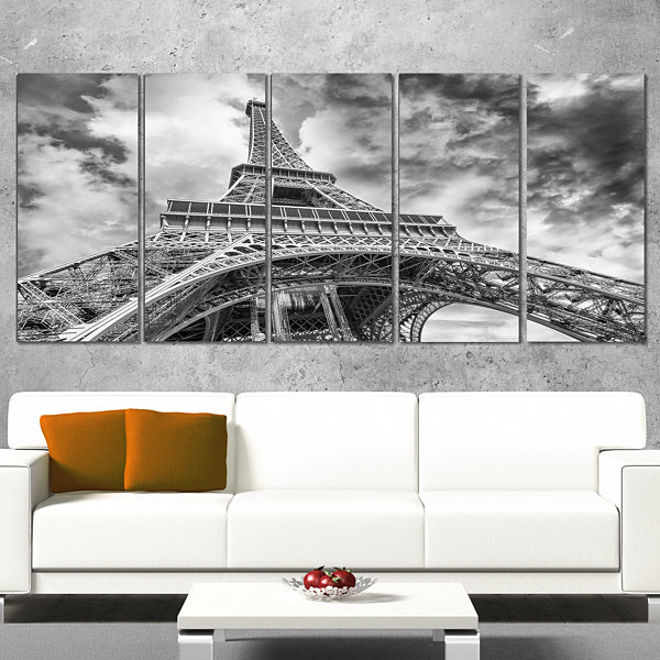 Design Art Black And White View Of Paris Eiffel Tower Cityscape Canvas Print - 5 Panels
