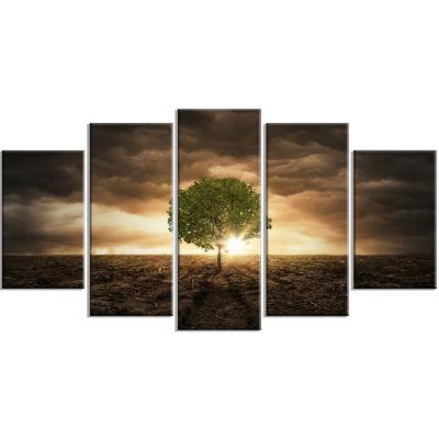 Designart Lonely Tree Under Dramatic Sky Wall ArtLandscape - 5 Panels
