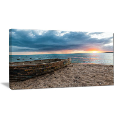 Designart Rusty Row Boat On Sand At Sunset Seascape Art Canvas