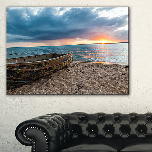 Design Art Rusty Row Boat On Sand At Sunset Seascape Art Canvas