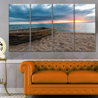 Design Art Rusty Row Boat On Sand At Sunset Seascape Art Canvas - 4 Panels