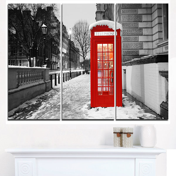 Design Art Red London Telephone Booth Cityscape Canvas Print - 3 Panels