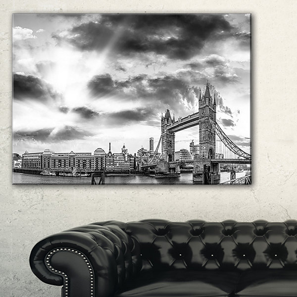 Design Art Black And White View Of London Panorama Cityscape Canvas Print