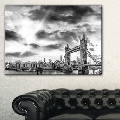 Designart Black And White View Of London PanoramaCityscape Canvas Print